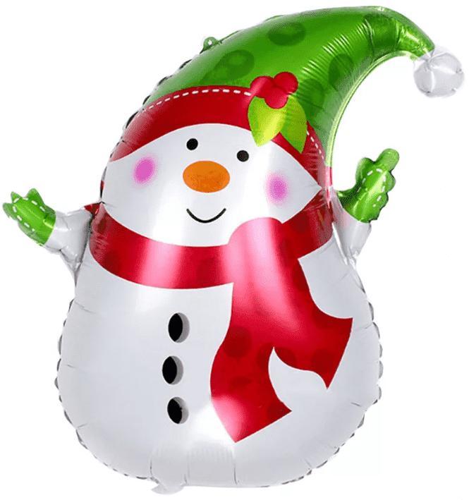 Снеговик фигурный шар фольгированный с гелием