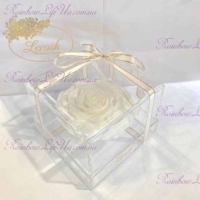 """Бутон розы в коробке белая """"Lux"""""""
