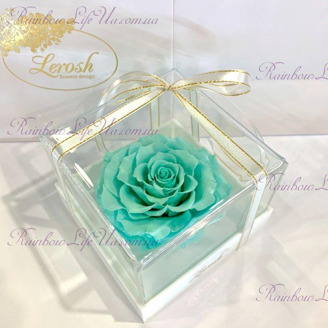 "Бутон розы в коробке бирюзовая ""Lux"""