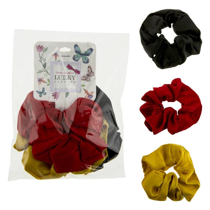 Lukky Fashion резинки текстильные, атлас, 3 шт (черный, желтый, красный)