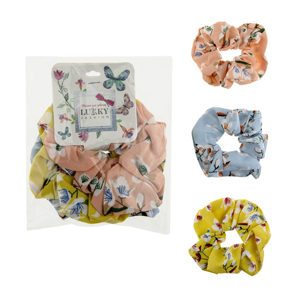 Lukky Fashion резинки текстильные, шифон, 3 шт (голубой, желтый, розовый)