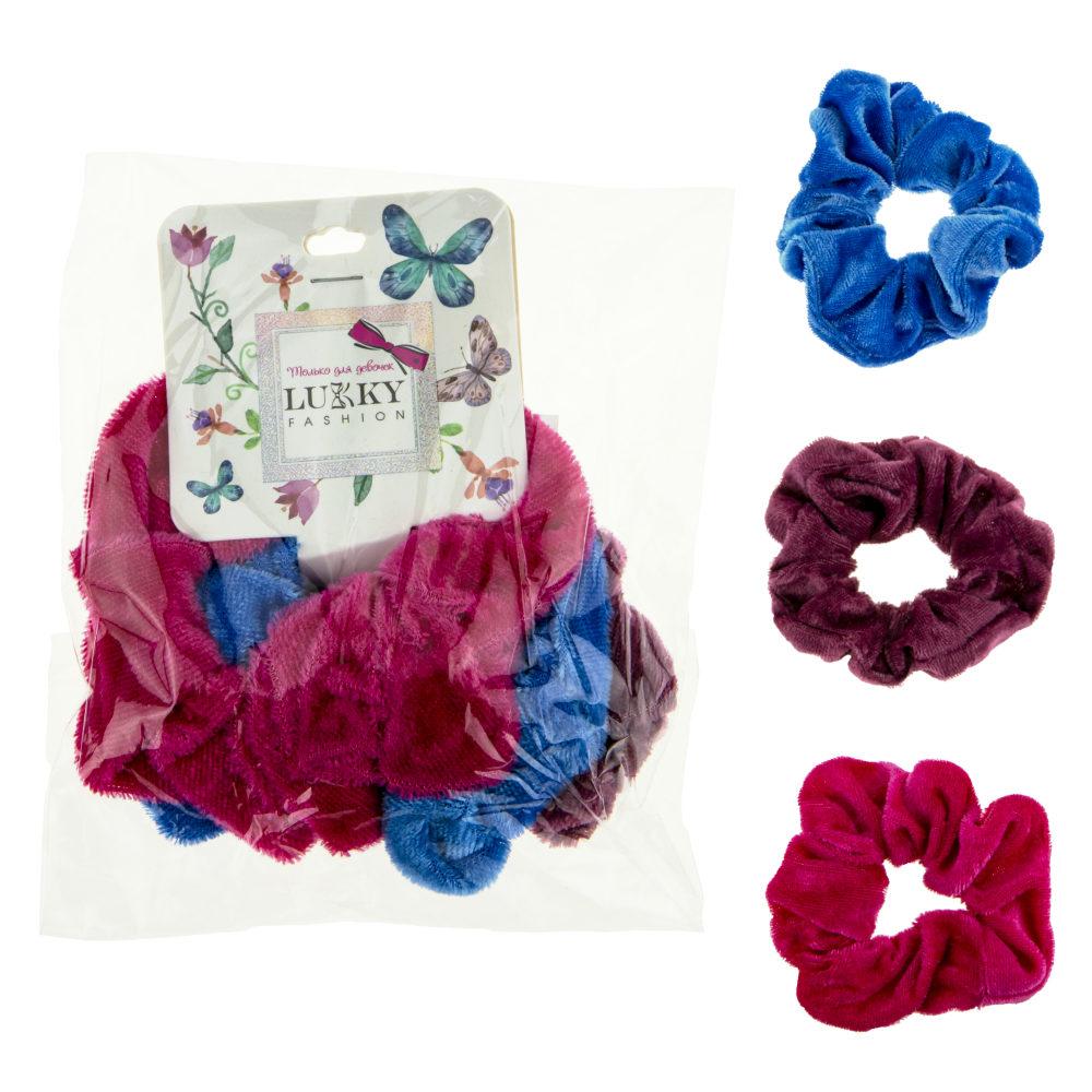 Lukky Fashion резинки текстильные, бархат, 3 шт (голубой, лиловый, фуксия)