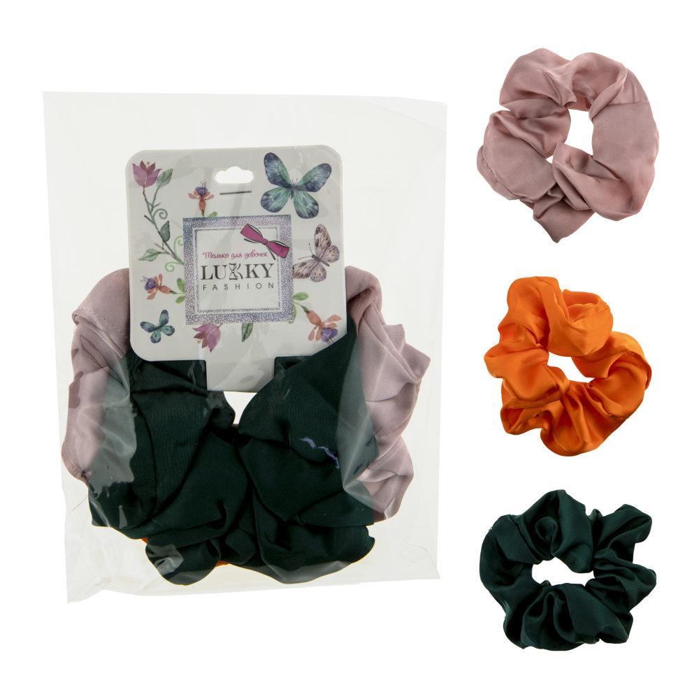 Lukky Fashion резинки текстильные, атлас, 3 шт (лиловый, оранжевый, зеленый)