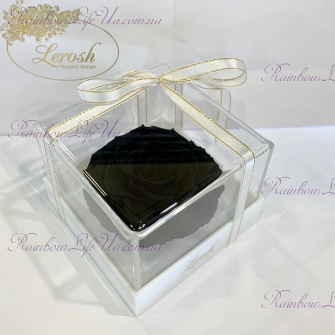 "Бутон розы в коробке черная ""Lux"""
