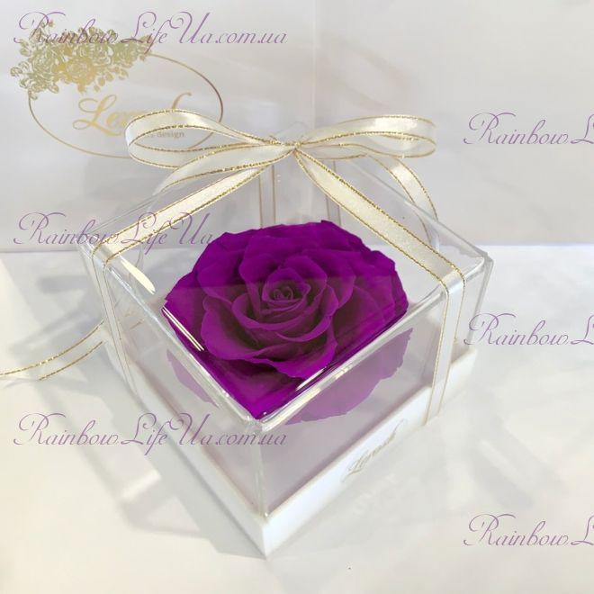 """Бутон розы в коробке фиолетовая """"Lux"""""""