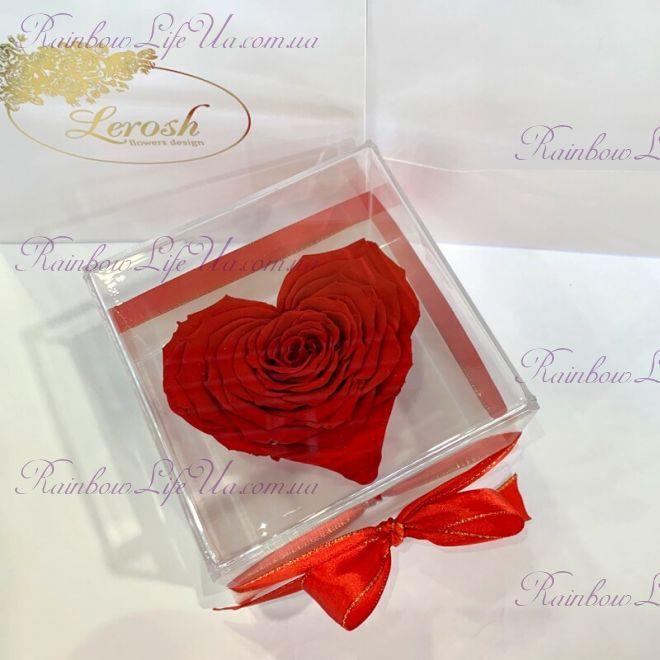 """Бутон розы в коробке Сердце """"Lux"""""""