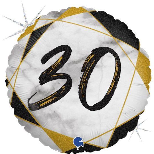 30 черно-золотой шар фольгированный с цифрой с гелием