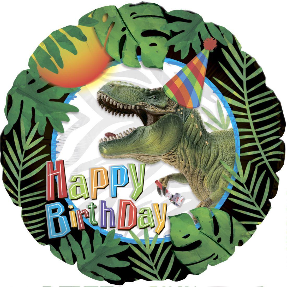 Динозавр в колпачке С Днем Рождения круглый шар фольгированный с гелием