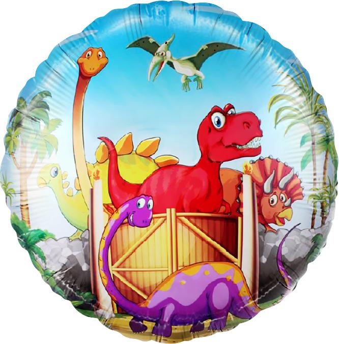 Динозавры малыши круглый шар фольгированный с гелием