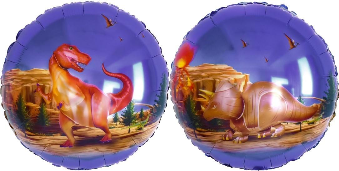 Динозавры двусторонний шар фольгированный с гелием