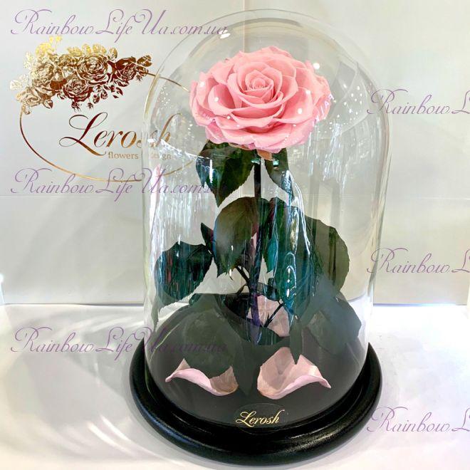 """Роза в колбе раскрытая розовая 33 см """"Lux"""""""