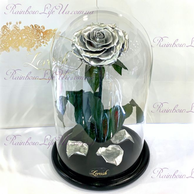 "Роза в колбе серебро 33 см ""Lux"""