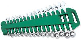 W45516S Набор ключей гаечных комбинированных трещоточных на держателе, 8-24 мм, 16 предметов