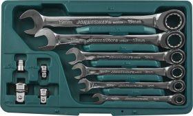 W45110S Набор ключей гаечных комбинированных трещоточных с аксессуарами в кейсе, 8-19 мм, 10 предметов