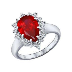 Кольцо из серебра с корундом рубиновым (синт.) и фианитами 84010014 SOKOLOV
