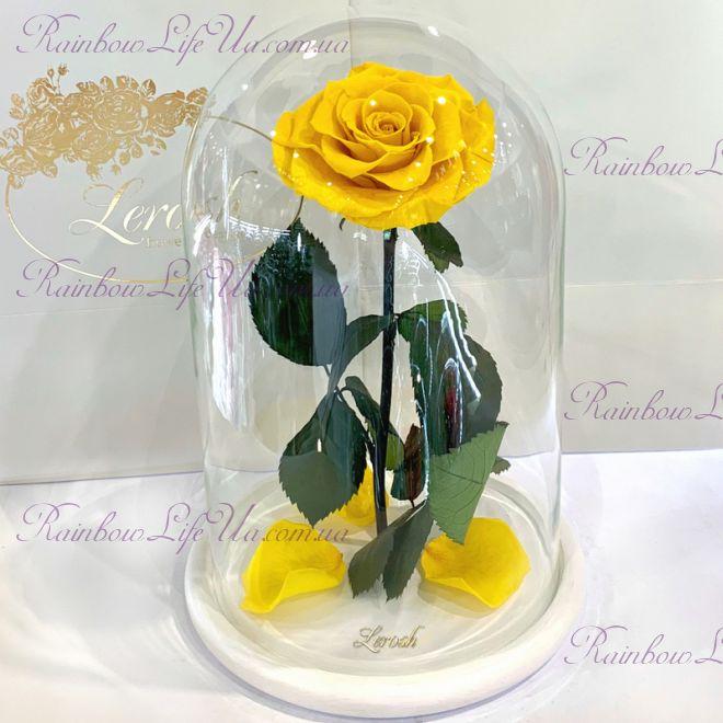 "Роза в колбе желтая 33 см ""Lux"""