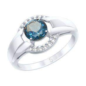 Кольцо из серебра с синим топазом и фианитами 92011569 SOKOLOV