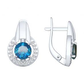 Серьги из серебра с синими топазами и фианитами 92021774 SOKOLOV