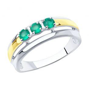 Кольцо из золочёного серебра с золочением и родированием с агатами 92011979 SOKOLOV
