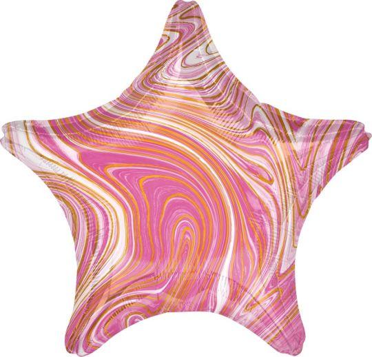 Звезда розовая Золотая нить шар фольгированный с гелием