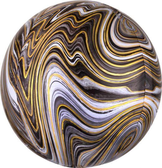 Сфера 3d чёрная Золотая нить шар фольгированный с гелием