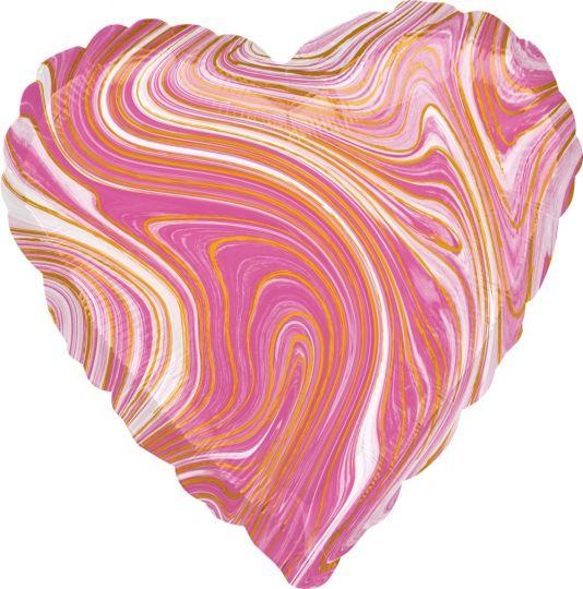 Сердце розовое Золотая Нить шар фольгированный с гелием