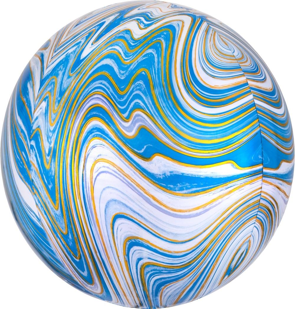 Сфера 3d голубая Золотая Нить шар фольгированный с гелием