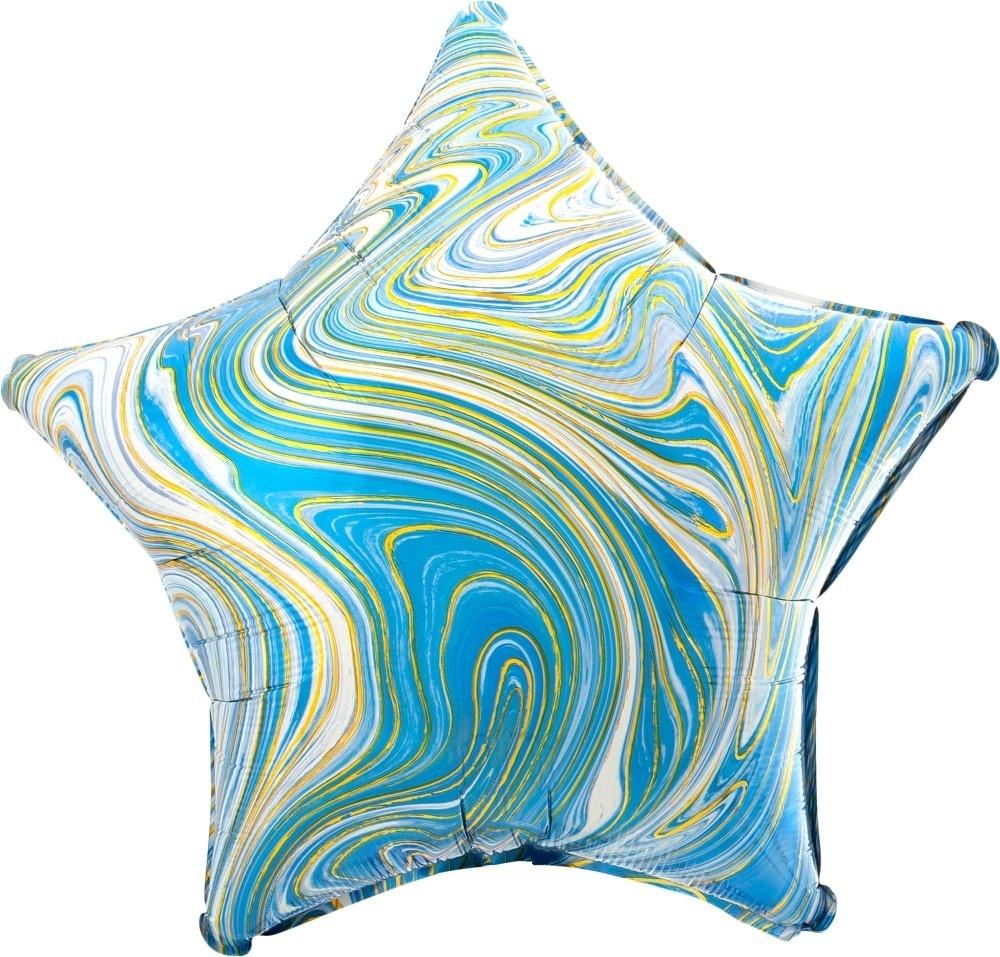 Звезда голубая Золотая нить шар фольгированный с гелием