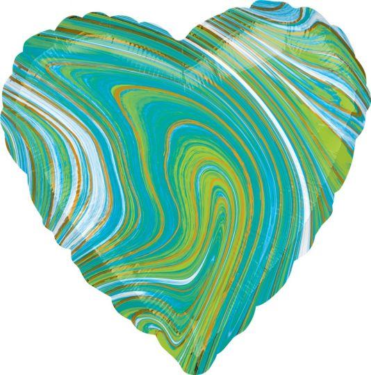 Сердце лайм Золотая нить шар фольгированный с гелием