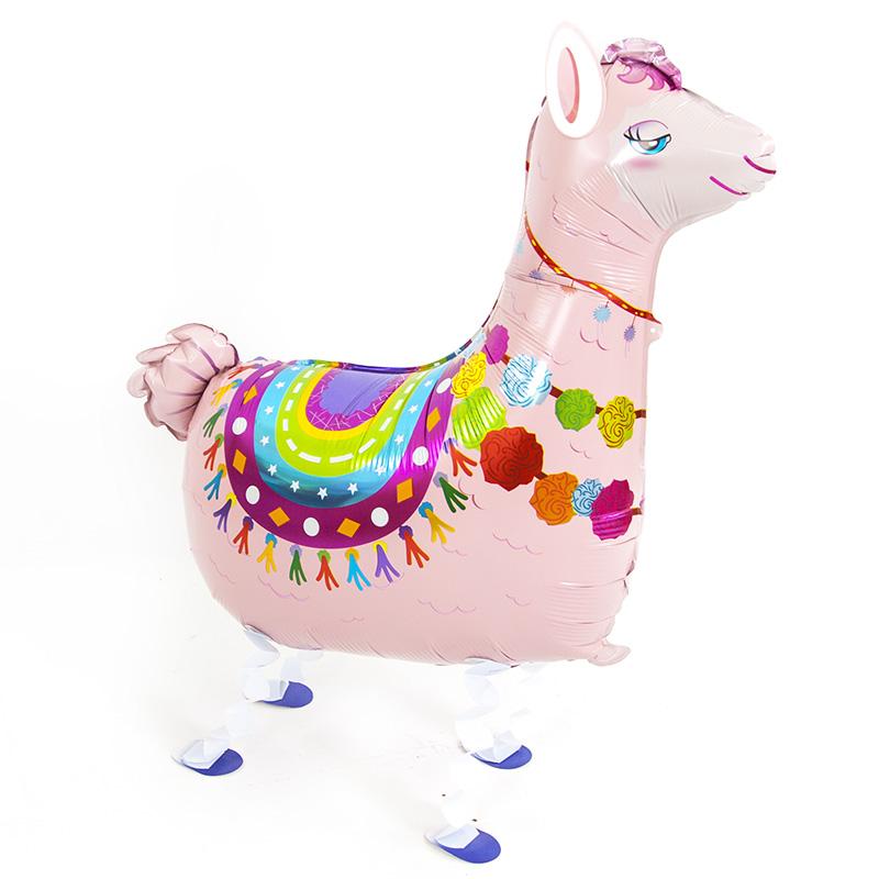 Лама (альпака) шар ходячий фольгированный с гелием