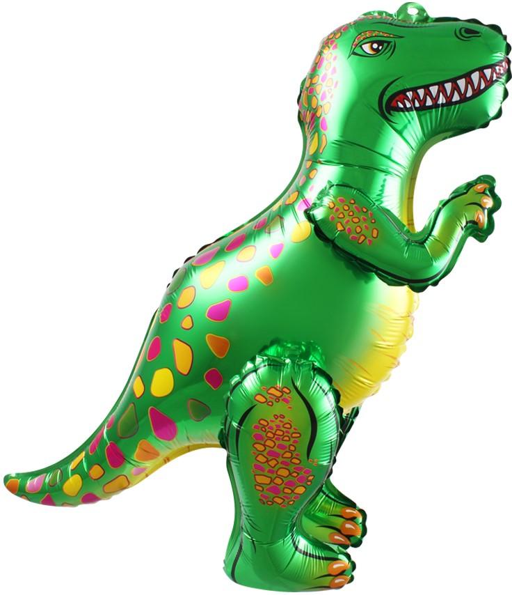 Зелёный пятнистый динозавр шар ходячий фольгированный