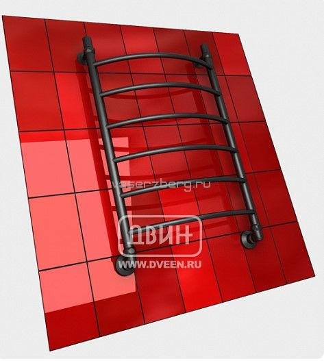 Черный водяной полотенцесушитель Двин R 80/50 K3