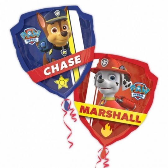 Щит Щенячий патруль двухсторонний (Маршалл и Чейз) фигурный шар фольгированный с гелием