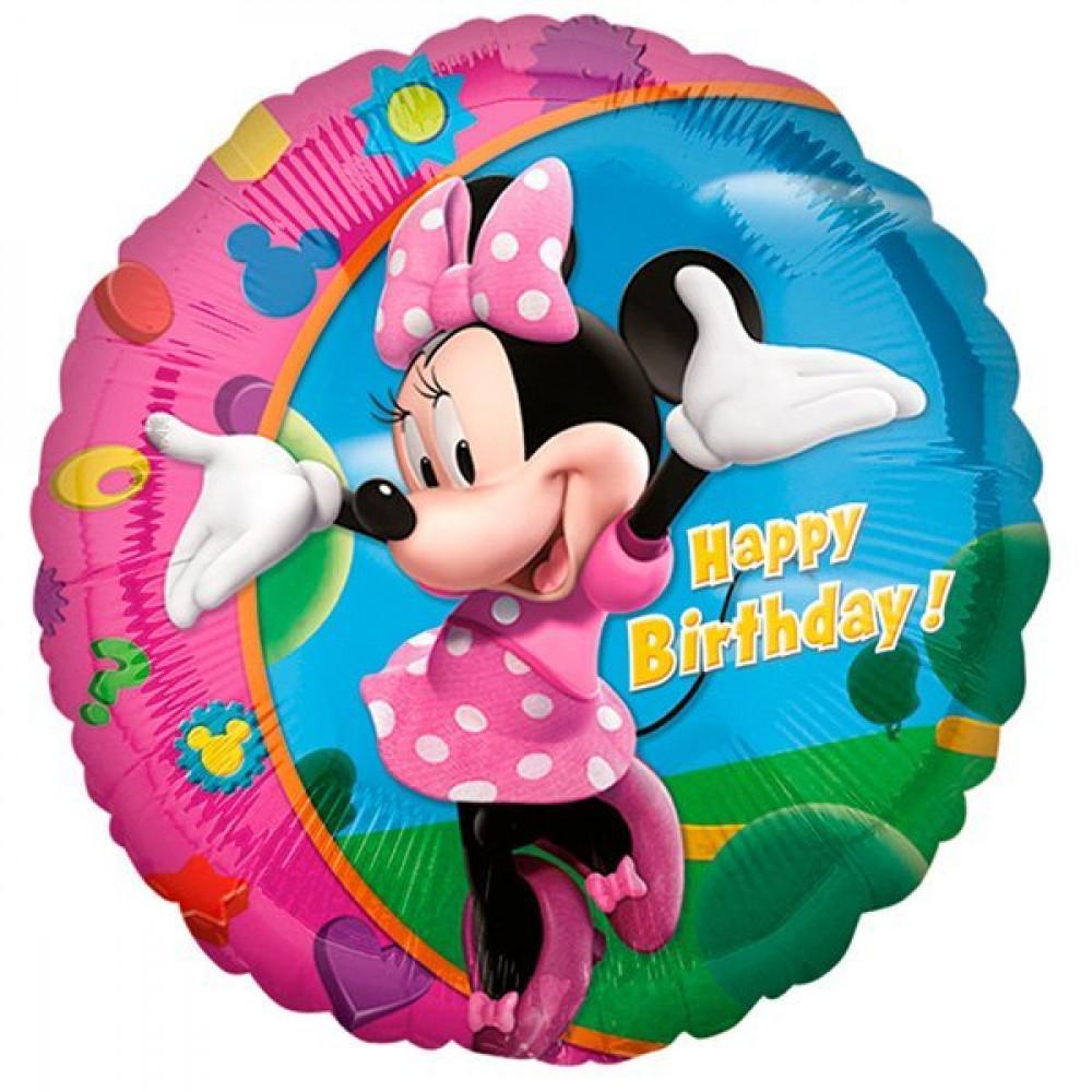Минни Маус розовый шар фольгированный круг с гелием