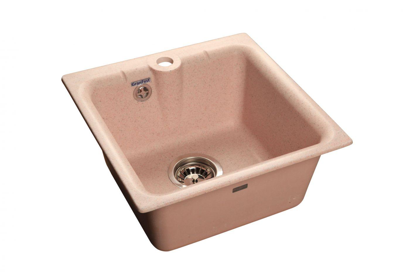 Мраморная мойка GranFest Practik GF-P420 Светло-Розовый