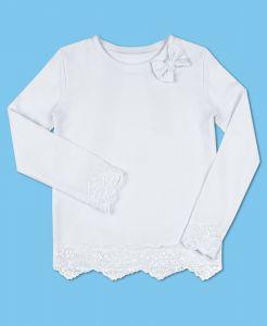 8298-ДШ19 Белый джемпер для девочки с кружевом в школу
