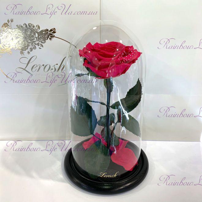 "Роза в колбе ярко - розовая 27 см ""Premium"""