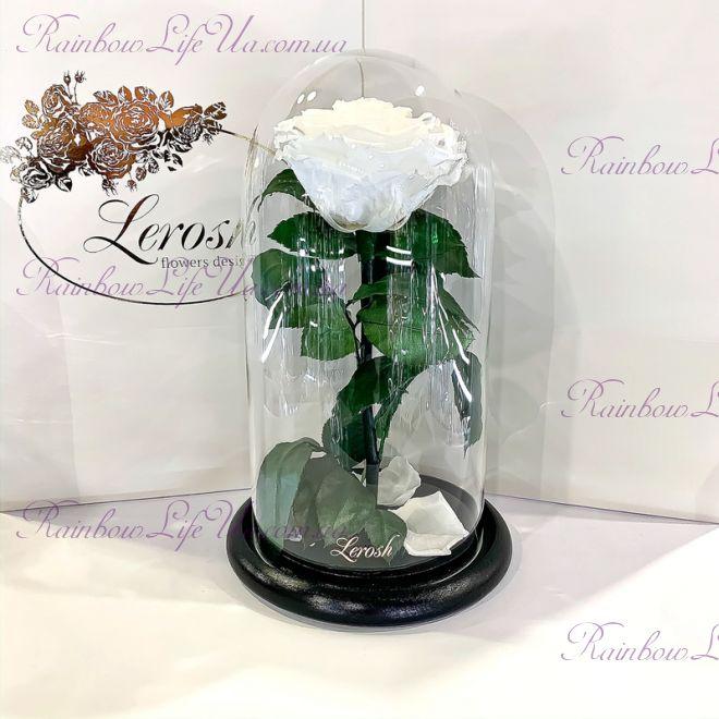 """Роза в колбе белая 27 см """"Premium"""""""
