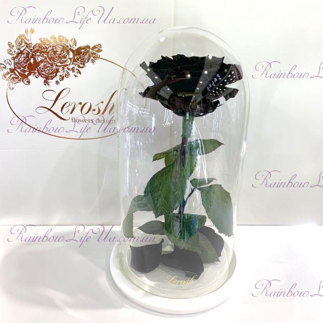 """Роза в колбе 27 см черная """"Premium"""""""