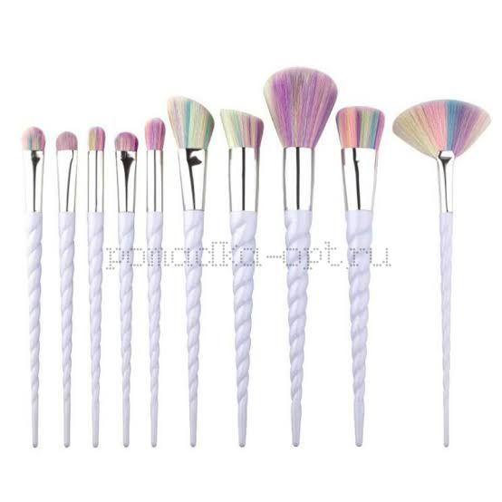 10pcs Unicorn Makeup Brush Set Pink White Foundation Blending Powder Eye shadow Make Up Brushes Cosmetic Beauty Make Up Tools DF
