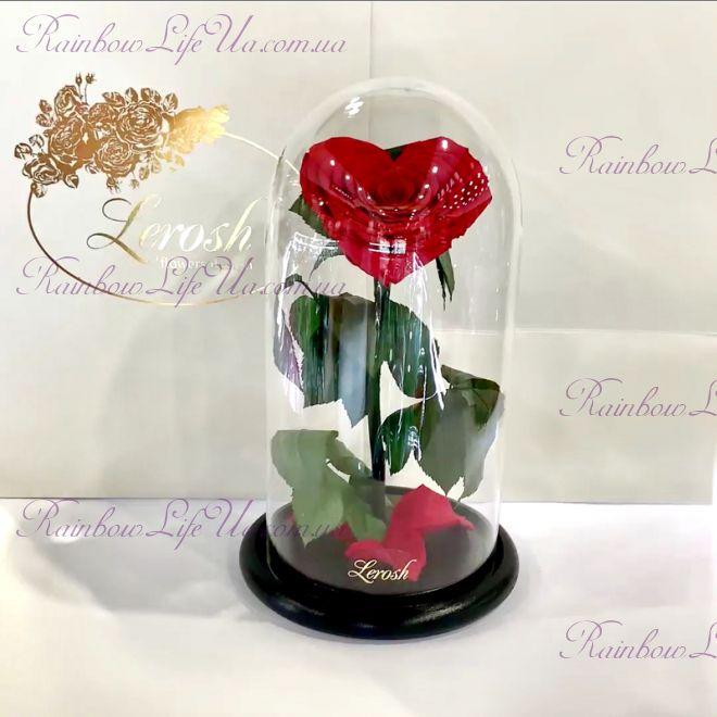 """Роза - сердце в колбе 27 см красная """"Premium"""""""