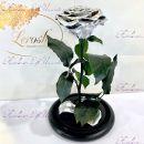 """Стабилизированная роза в колбе 27 см серебро """"Premium"""""""