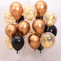 Металлик хромированные золотые и чёрные шарики с гелием