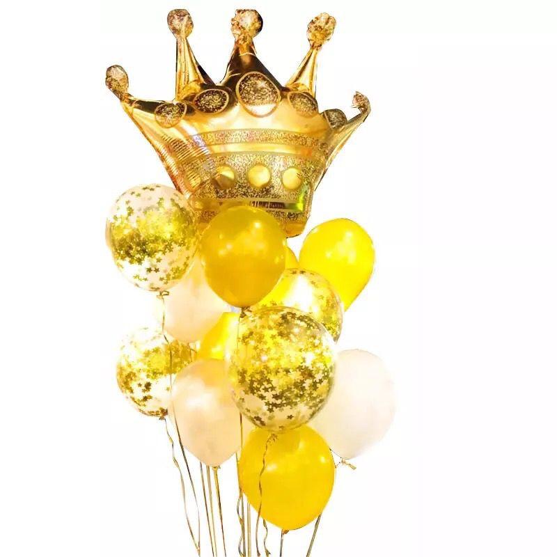 Букет из гелиевых шаров Золото с короной