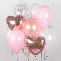 Букет из гелиевых шаров розовые-розовое золото-конфетти