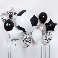 Букет из гелиевых шаров Футбол чёрное и белое
