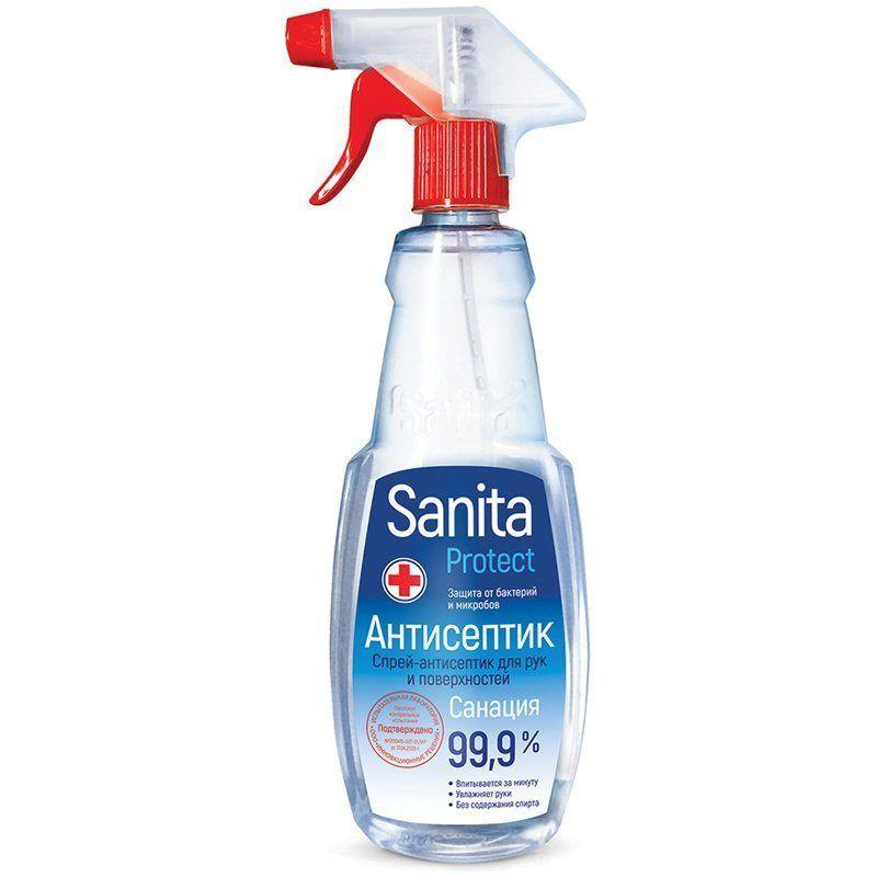 """Жидкость антисептическая Sanita """"Protect"""", 500 мл, спрей с триггером, 309199"""