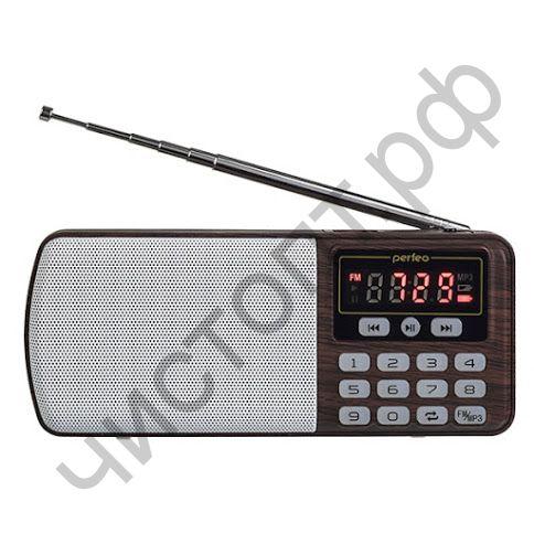 Колонка универс.с радио Perfeo ЕГЕРЬ FM+ 70-108МГц/ MP3/ питание USB или BL5C/ цвет коричневый (i120-BK)