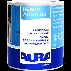 Акриловая Декоративная Эмаль Aura 2.4л Luxpro Remix Aqua 30 Полуматовая Водоразбавимая для Внутренних и Наружных Работ