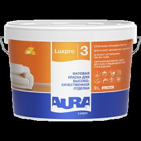 Краска Aura 9л Luxpro 3 Матовая для Высококачественной Отделки